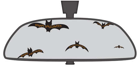 Halloween bats in a car rear view mirror isolated on a white background Иллюстрация