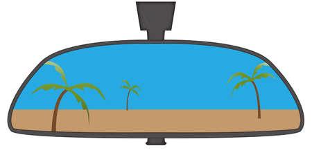 backwards: Het strand in een auto achteruitkijkspiegel geïsoleerd op een witte achtergrond