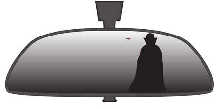 rear view mirror: Dracula in a car rear view mirror isolated on a white background
