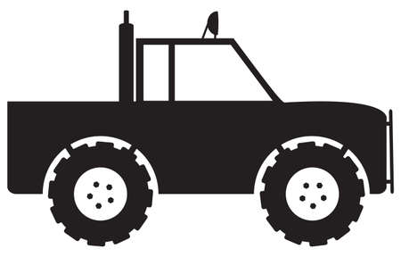 4x4: A 4x4 truck silhouette isolated on a white background Illustration