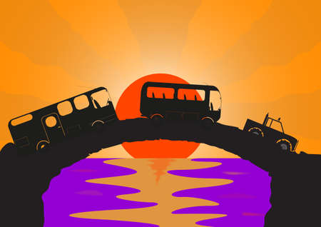 ocean sunset: A holiday vehicle convoy on a stone bridge with an ocean sunset background