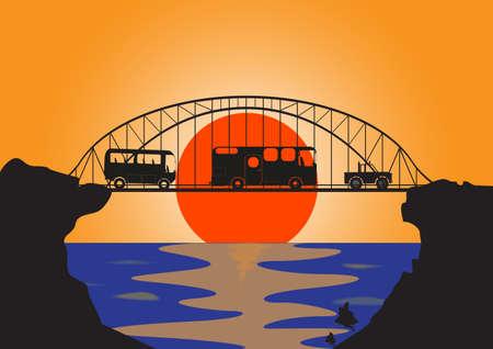 convoy: Un convoglio di veicoli di vacanza su un ponte moderno al tramonto sul mare Vettoriali