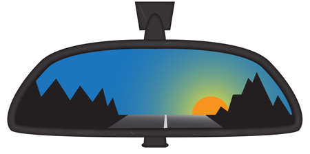 rear view mirror: Sunset behind mountains in a car rear view mirror isolated on a white background