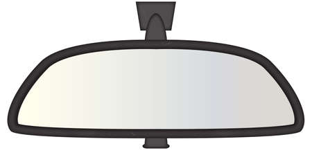 rear view mirror: A chunky car rear view mirror isolated on a white background