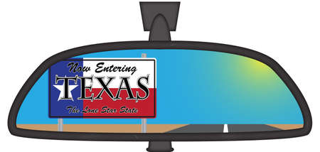 Texas sign in a chunky car rear view mirror isolated on a white background