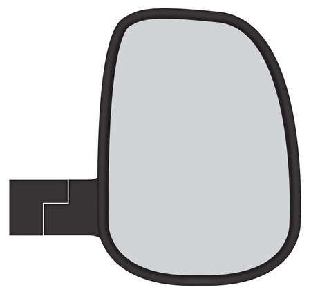 rear wing: A truck or van side mirror isolated on a white background Illustration