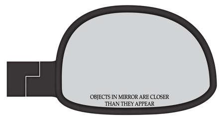 backwards: Een spiegel auto kant met een waarschuwingssticker geïsoleerd op een witte achtergrond Stock Illustratie