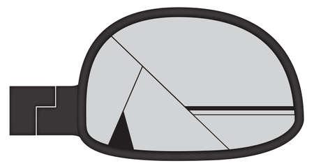 backwards: Een gebroken dikke auto zijspiegel geïsoleerd op een witte achtergrond