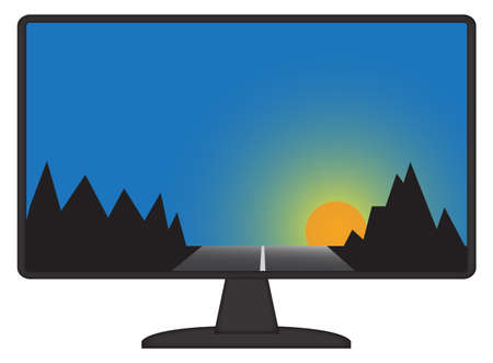 mountain scene: A mountain scene on a computer screen isolated on a white background