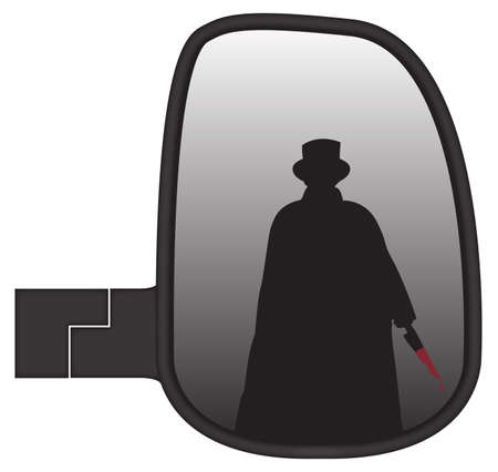 rear wing: Jack the ripper in a truck or van side mirror isolated on a white background