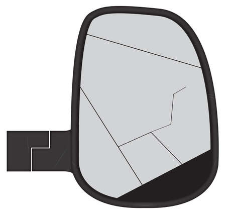 A smashed truck or van side mirror isolated on a white background Illustration