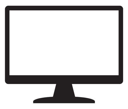 screen type: A computer screen silhouette with screen space isolated on a white background