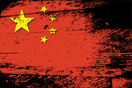 A chinese flag with a grunge filter isolated on a white background 向量圖像