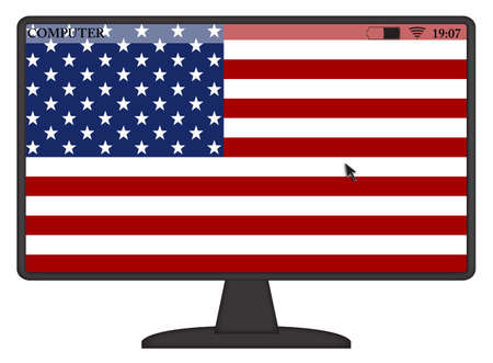 A mouse arrow or cursor on an American flag computer screen isolated on a white background