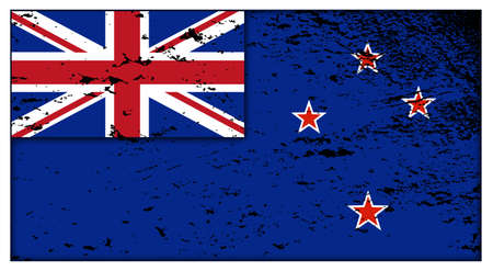 oceana: A New Zealand grunge flag design isolated on a white background Illustration