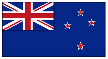 A New Zealand flag design isolated on a white background Illustration