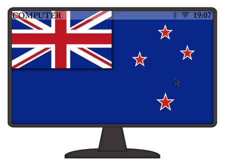 oceana: A mouse arrow or cursor on a New Zealand computer screen isolated on a white background