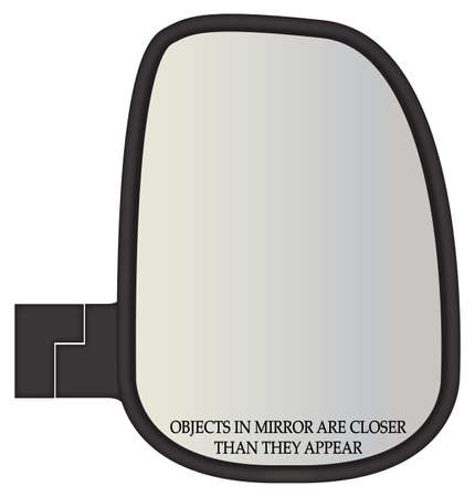 rear wing: A truck or van side mirror with warning text isolated on a white background Illustration