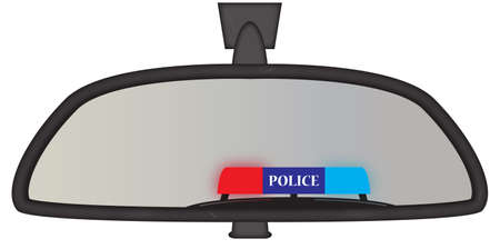 Police sirens in a chunky car rear view mirror isolated on a white background Illustration
