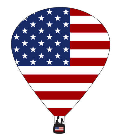spangled: A USA hot air balloon design with a white background Illustration