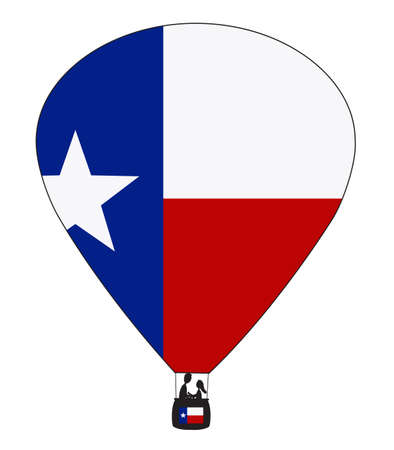 spangled: A Texas hot air balloon design with a white background