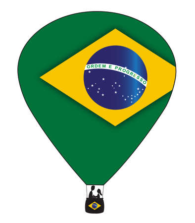 february 14th: A Brazil hot air balloon design isolated on a white background Illustration