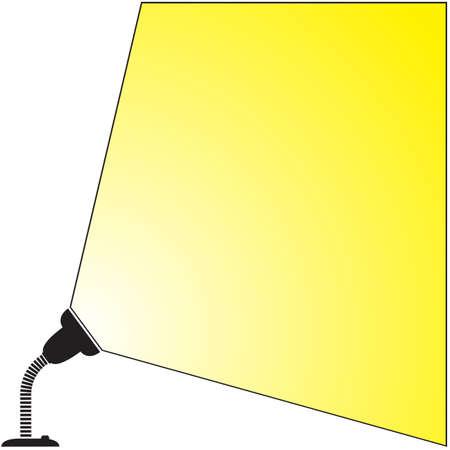shining light: Una silueta l�mpara de escritorio flexible, con luz brillante aislado en un fondo blanco
