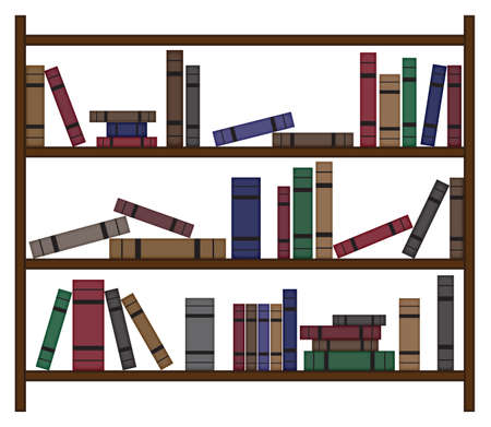 books isolated: A busy bookshelf design with various books isolated on a white background Illustration