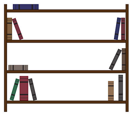 An empty bookshelf design with few books and white space isolated on a white background