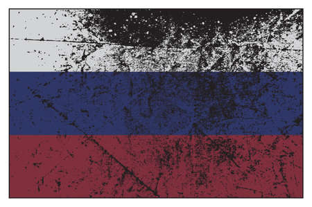 grunged: A Russian flag design grunged and isolated on a white background