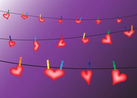 pegs: Hearts hung on a washing line with pegs on a purple background