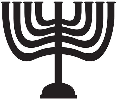 A Menorah silhouette isolated on a white background