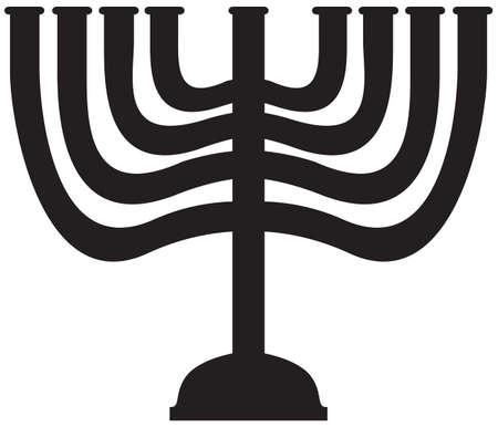 Een Menorah silhouet geïsoleerd op een witte achtergrond Stock Illustratie