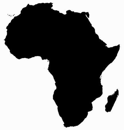 An Africa map silhouette isolated on a white background