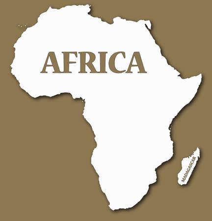 Un mapa de África y Madagascar con el texto y la sombra aislada en un fondo marrón