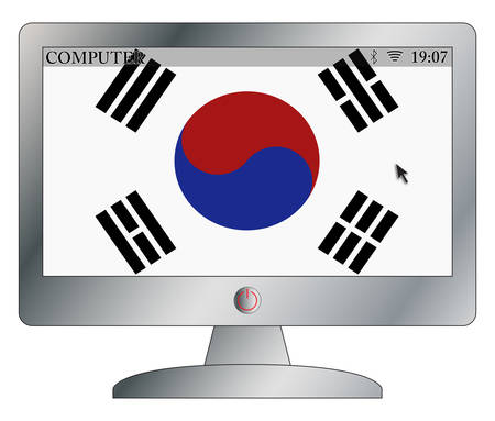 screen type: A silver computer screen with a South Korea flag and screen space isolated on a white background