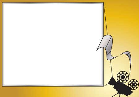 raum weiss: Ein Projektor Silhouette mit einem leeren Bildschirm auf Gold und Silber mit wei�en Raum Illustration