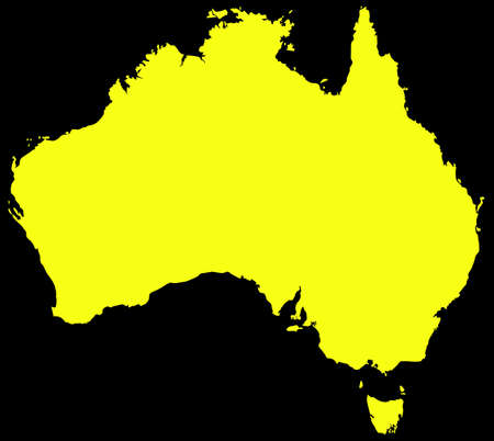 australasia: A yellow Australia map isolated on a black background Illustration