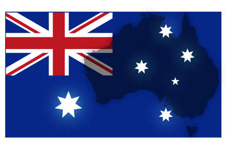 oceana: An Australian flag and map design isolated on a white background Illustration