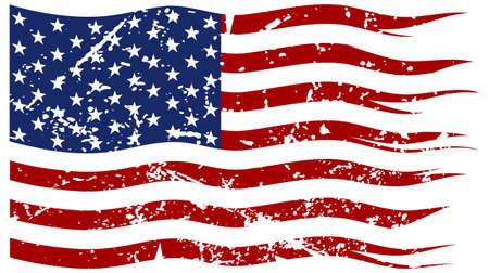 Een gescheurd en gescheurde Amerikaanse vlag met een grunge filter geïsoleerd op een witte achtergrond