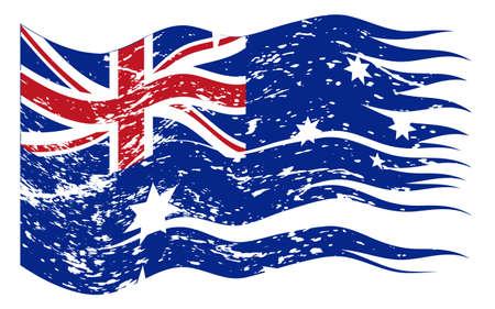 new zealand flag: Un disegno della bandiera della Nuova Zelanda strappato e grunged isolato su uno sfondo bianco