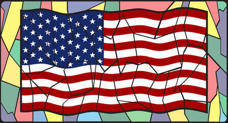 country church: U.S. Flag on a stained glass window design