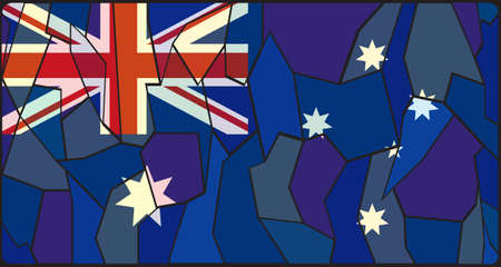 oceana: Australia Flag on stained glass window design