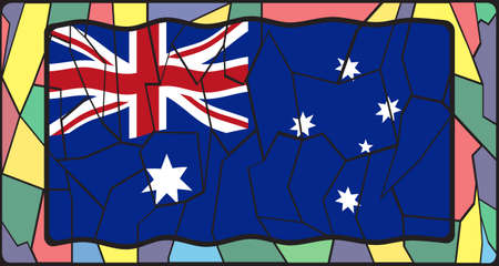 oceana: Australia Flag on a stained glass window design