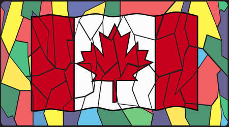 country church: Canadian Flag on a stained glass window design