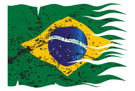 A wavy and grunged Brazil flag isolated on a white background