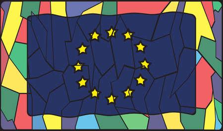 eu: EU flag style on stained glass window Illustration