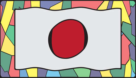 symbolics: A Japan flag design on a stained glass window