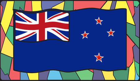 oceana: A New Zealand flag design on a stained glass window