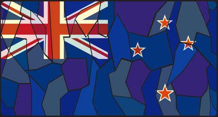 new zealand flag: Una bandiera disegno Nuova Zelanda su una vetrata